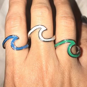 STERLING SILVER GREEN WAVE RING